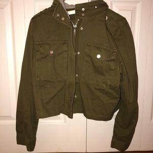 premium denim dark green jacket